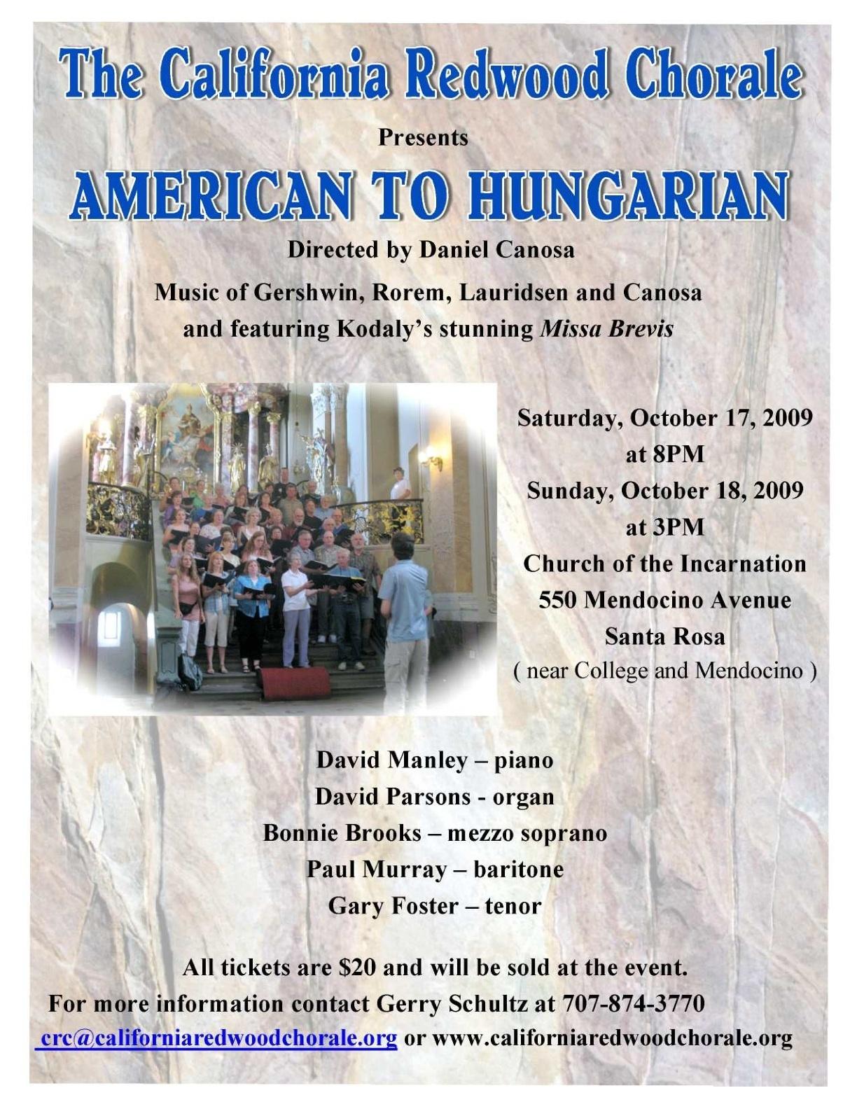 October 2009 concert poster