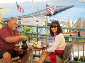 Robert and Martha Hazelrigg at breakfast