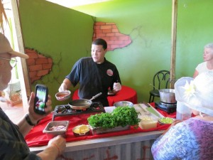 Chef teaching us at our cooking class at his restaurant in Dorado, Puerto Rico.