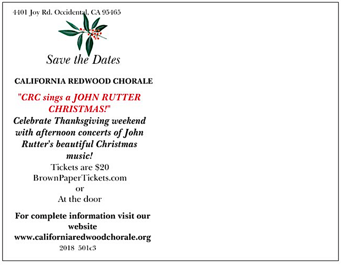 screen shot back Rutter card at CALIFORNIA REDWOOD CHORALE